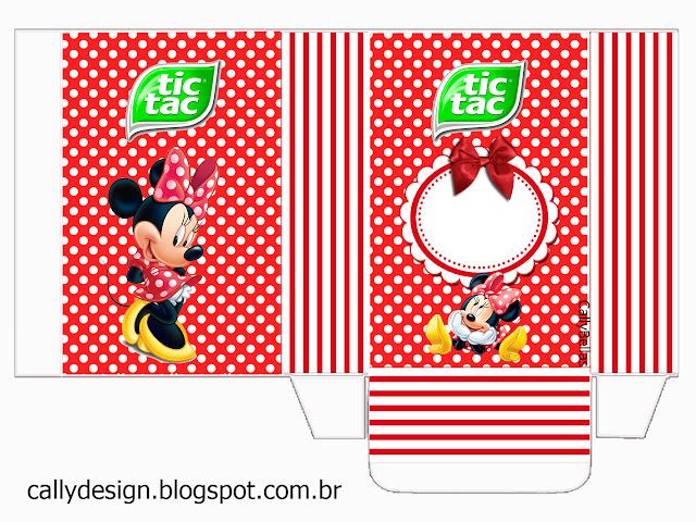 Caja Tic Tac para Imprimir Gratis de Minnie en Rayas Rojas.