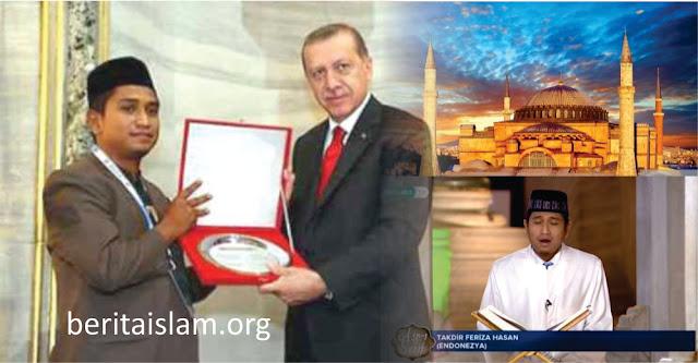 Dua tahun yang lalu, tepatnya pada tahun 2018, Presiden Erdogan pernah mengundang seorang putra asal Aceh bernama Ustaz Takdir Feriza Hasan. Ia diundang untuk membacakan ayat Alquran di Hagia Sophia. Saat itu, ia membacakan surat Fathir ayat 29-35 dengan merdu, dan menuai pujian dari berbagai pihak.