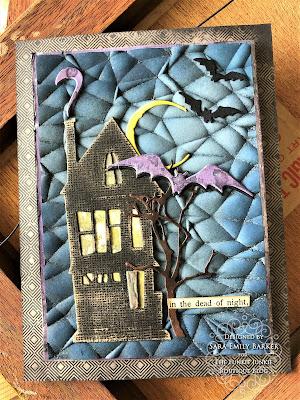 Sara Emily Barker https://sarascloset1.blogspot.com/2019/08/3d-crackle-saturday-showcase-for-funkie.html Halloween Card With Tim Holtz Crackle 3D Ghost Town Bat Crazy