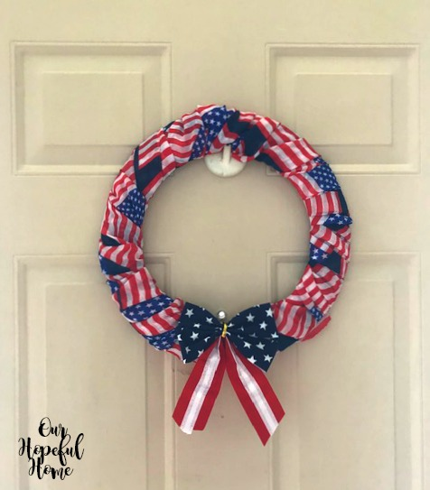 red white blue stars stripes bow wreath craft