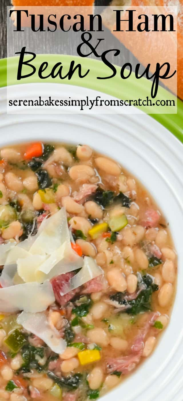 Tuscan Ham and Bean Soup is a hearty Ham and White Bean Soup with Kale and Veggies like zucchini! A great use for leftover ham bone soup from Serena Bakes Simply From Scratch.