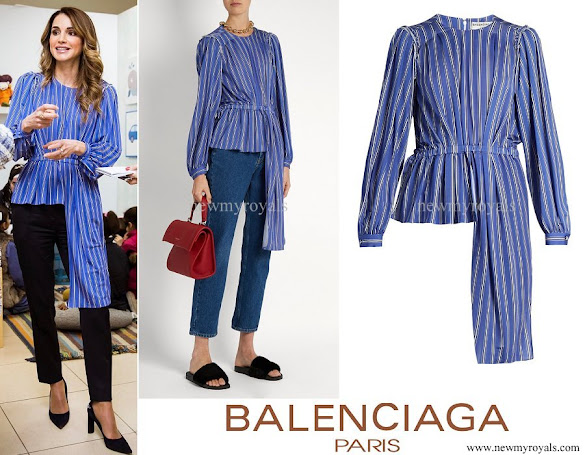 Queen Rania wore Balenciaga Asymmetric Long-Sleeve Striped blouse