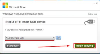 Windows 7 USB DVD Download Tool - choose Begin copying