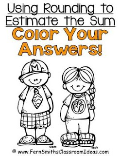 Fern Smith's Classroom Ideas Rounding to Estimate Sums - Color Your Answers Printables with No Common Core