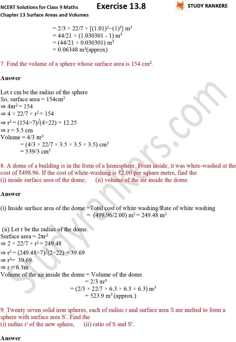 NCERT Solutions for Class 9 Maths Chapter 13 Surface Areas and Volumes Exercise 13.8 Part 3