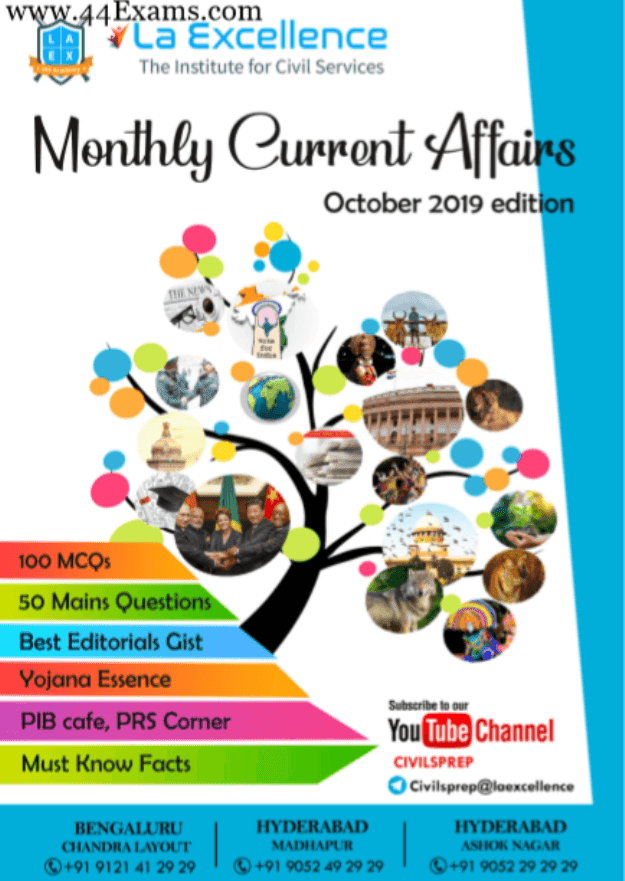 La-Excellence-Monthly-Current-Affairs-October-2019-For-UPSC-Exam-PDF-Book