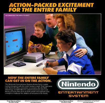 vecchia pubblicità NES raffigurante una famiglia