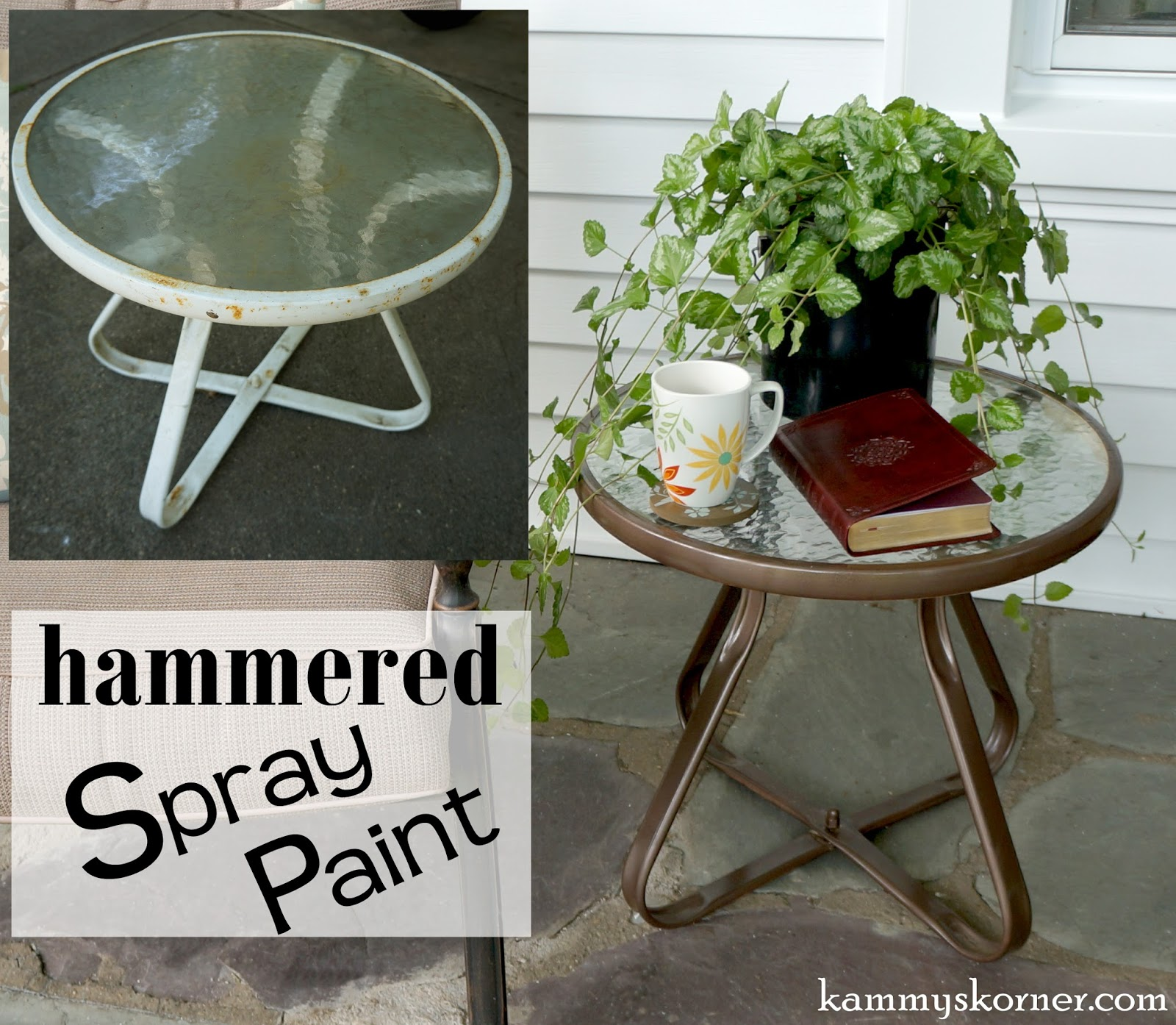 Kammy S Korner Updating A Little Outdoor End Table The Easy Way. How To Spray  Paint ...