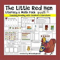 literacy for beginning readers, teaching resources, little red hen, reading activities