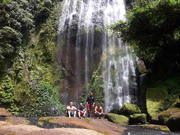 groupie under Hulugan waterfalls