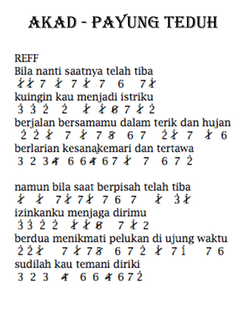 Not Angka Lagu Payung Teduh by Akad beserta Liriknya