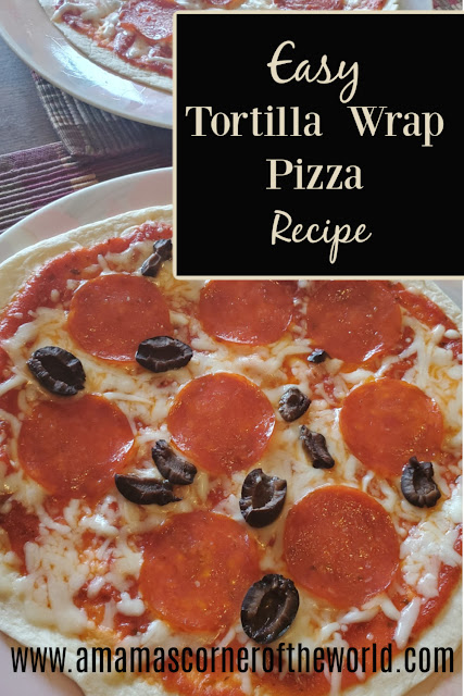 Pinnable image for a tortilla wrap pizza recipe
