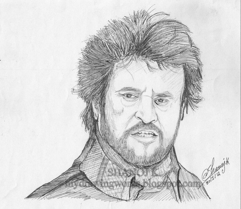 Rajinikanth sketch using pen rainbow the colour of life