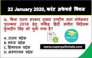 Daily Current Affairs Quiz in Hindi 22 January 2020