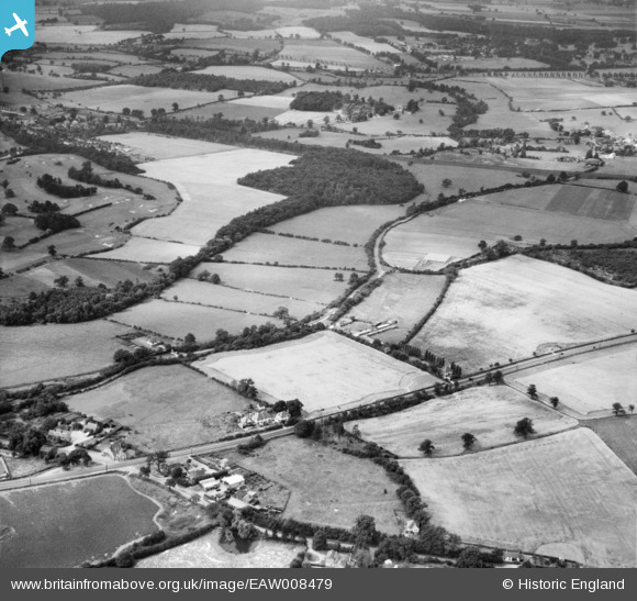 Photograph of Bulls Lane and Peplin's Wood, Bell Bar, 1947 Image courtesy of Britain From Above