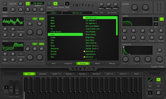 Interface do Plugin Initial Audio - Sektor 1.4.0 + Love Trap EXPANSION