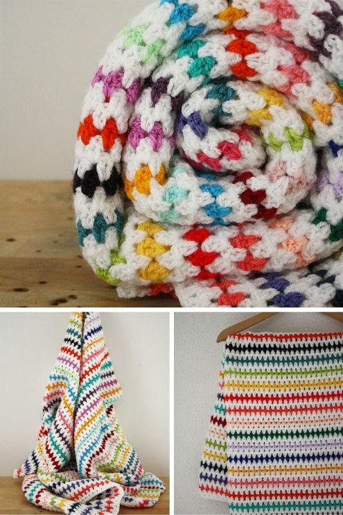 Diamond Blanket FREE crochet pattern by Happy in Red