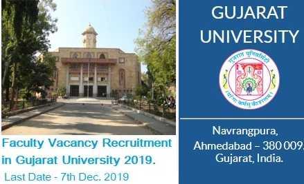 Gujarat University Faculty Vacancy Recruitment 2019