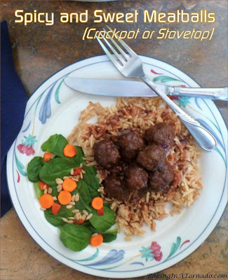 Spicy and Sweet Meatballs are versatile, they can be made on the stovetop or in a crockpot and are ideal for an appetizer or a main dish. | Recipe developed by www.BakingInATornado.com | #recipe #dinner