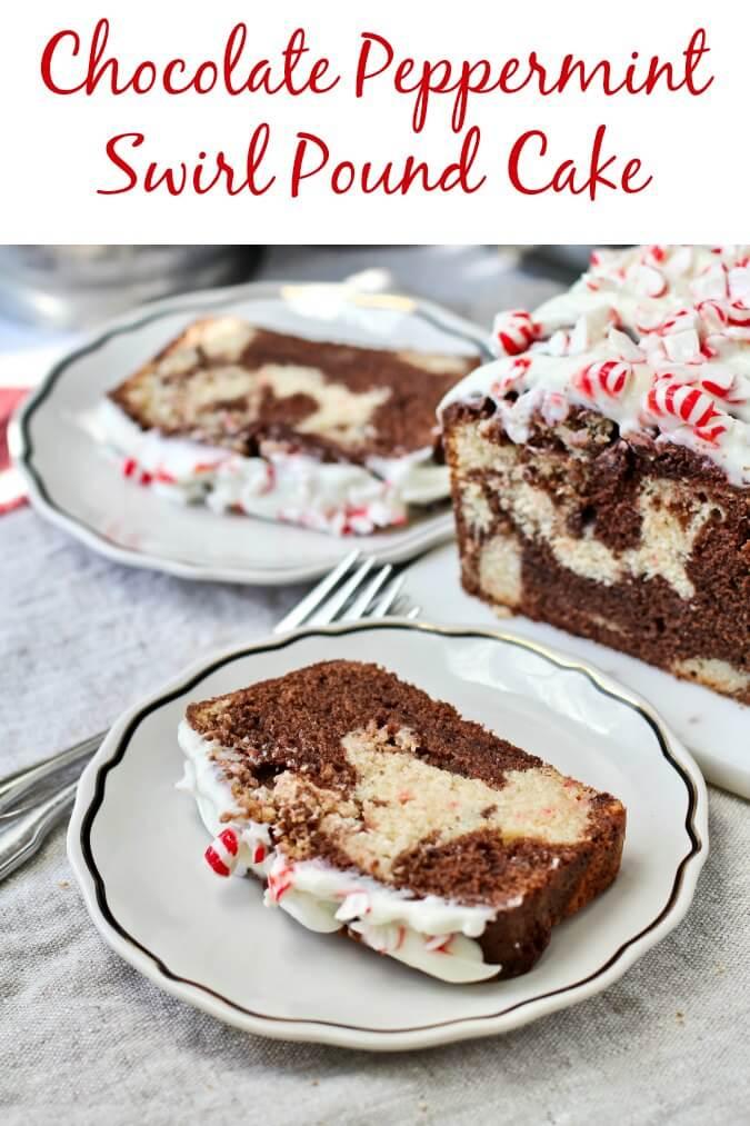 Peppermint swirl pound cake with chocolate