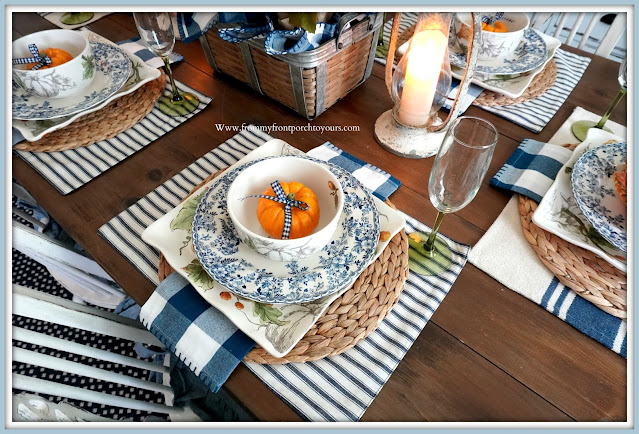 Farmhouse Cottage Style Fall Dining Room-Pumpkin Place Setting-From My Front Porch To Yours