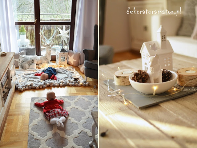 salon, pokój dzienny, świąteczne dekoracje, święta, livingroom, ikea, styl skandynawski, shabby schic