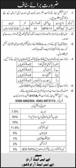 Army Selection & Recruitment Centre Lahore Cantt job in Pakistan 8/02/2021 Latest
