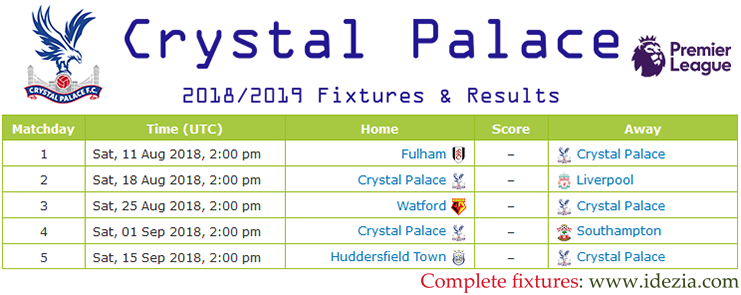 Download Full Fixtures PNG JPG Crystal Palace 2018-2019