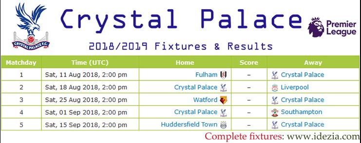 Baixar calendário completo PNG JPG Crystal Palace 2018-2019