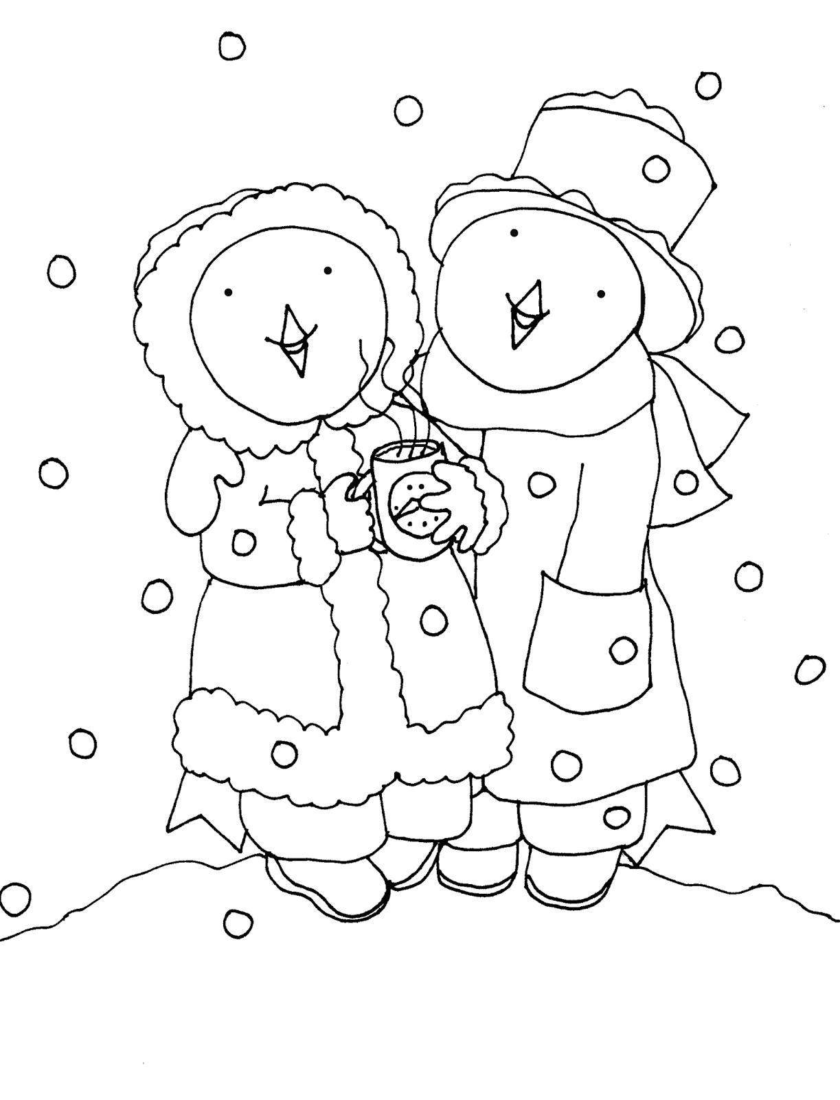 Free Dearie Dolls Digi Stamps: Snow Bluebirdies