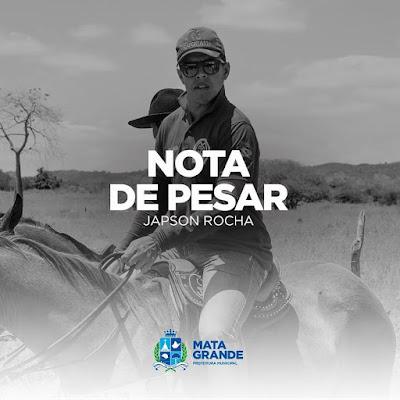 Prefeitura de Mata Grande emite nota de pesar e decreta luto de 3 dias pela morte de Japson Rocha