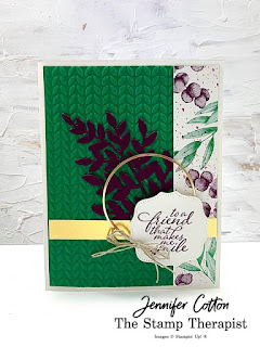This card is from my latest Facebook Live uses Stampin' Up!'s Forever Fern set, Forever Flourishing dies, Forever Greenery Trim Combo Pack, Gold Hoops, Hippo & Friends dies, and Greenery embossing folders. Click the pic to see video and supply list.  #StampTherapist #StampinUp