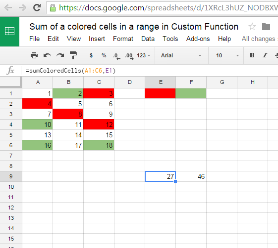 iGoogleDrive: Google Spreadsheet Sum of a colored cells in a
