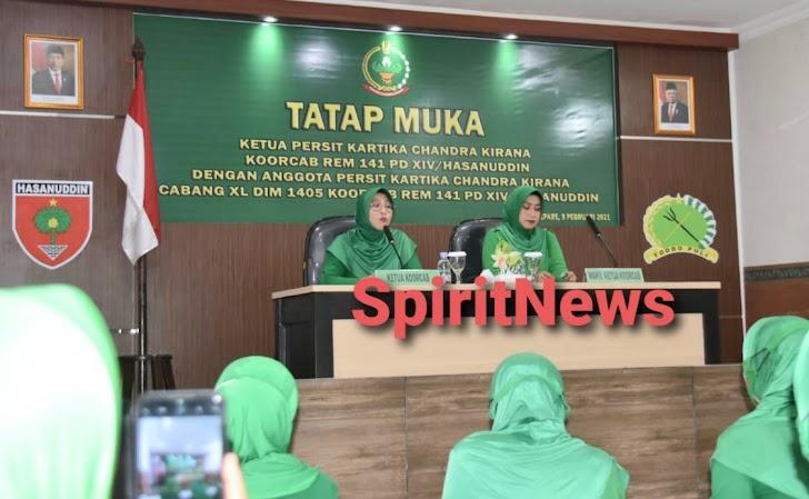 Tatap Muka Ketua  Persit KCK Koorcab Rem 141/Tp, Utamakan Prokes di Kodim 1405/Malusetasi