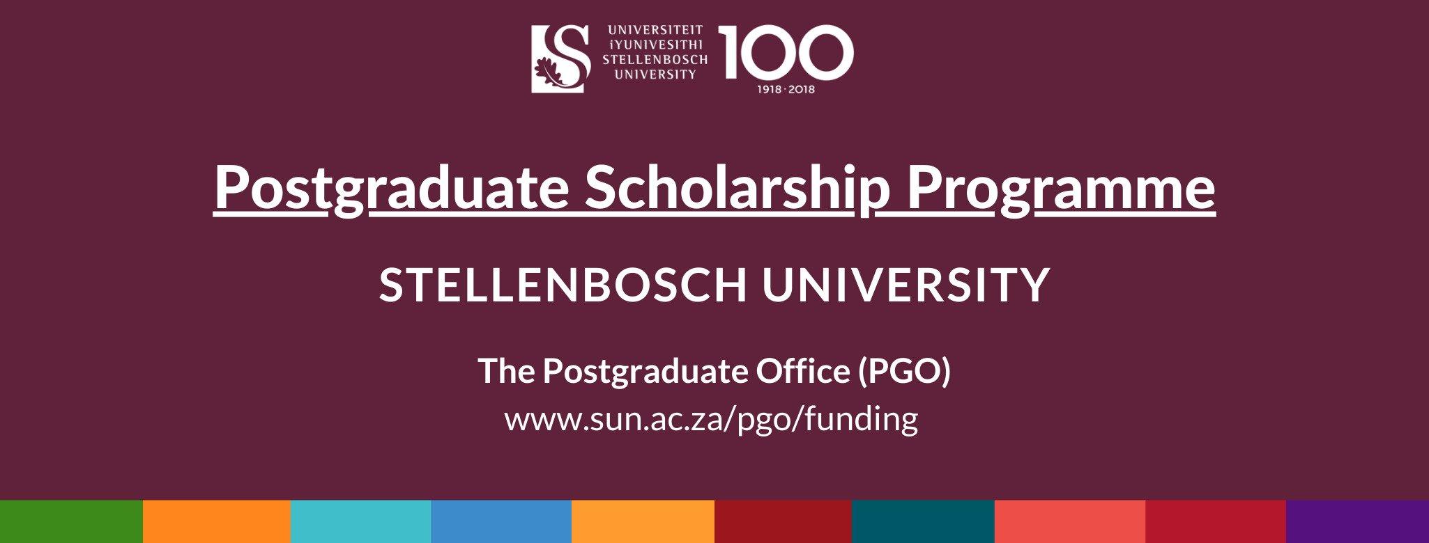 Stellenbosch University Postgraduate Scholarship Programme 2021