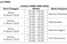 JADWAL UNBK 2020 LENGKAP Tingkat SMP/MTs SMA/ MA / SMK/MA