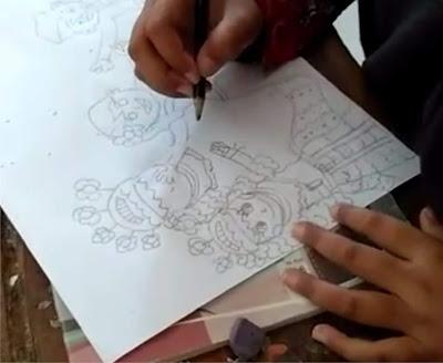 langkah - langkah membuat gambar cerita ( sketsa )