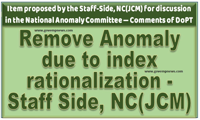 Remove Anomaly due to index rationalization