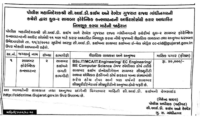 CID Crime Gujarat Recruitment 2019 / Cyber Forensic Consultant Posts: