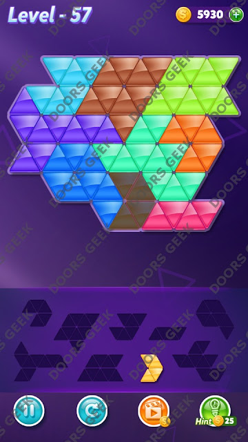 Block! Triangle Puzzle 9 Mania Level 57 Solution, Cheats, Walkthrough for Android, iPhone, iPad and iPod