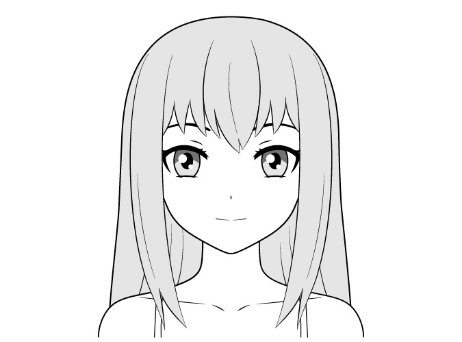 Anime gadis biasa tersenyum menggambar wajah
