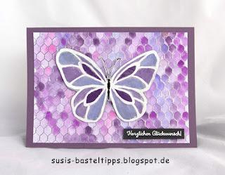 Schmetterling, Glüclkwunsch, verschiedene HIntergrund Variationen mit dem Stampin' Up! Stempel all wired up und Farben, Idee von Stampin' Up! Demonstratorin in Coburg