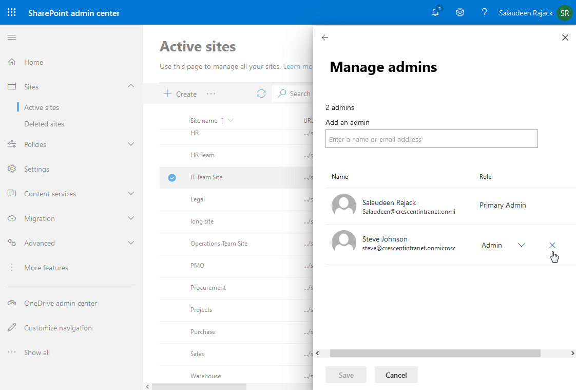 PnP PowerShell to remove site collection administrator in sharepoint online