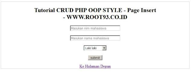 Crud oop php - antar muka tambah data (create data page) - root93
