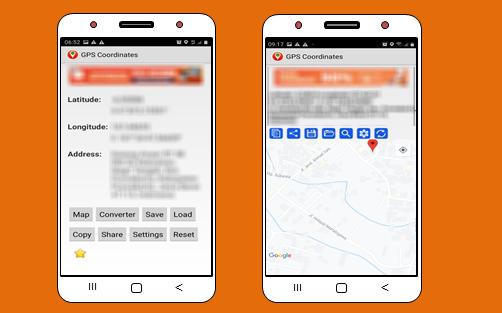 aplikai map GPS Coordinates