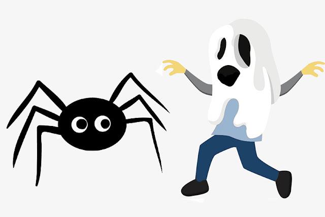 persona disfrazada de fantasma queriendo engañar a una araña