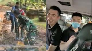 Orang China Ngakak Numpang Mobil Mogok yang Ditarik TNI, Netizen: Saya Anak TNI Tersinggung!