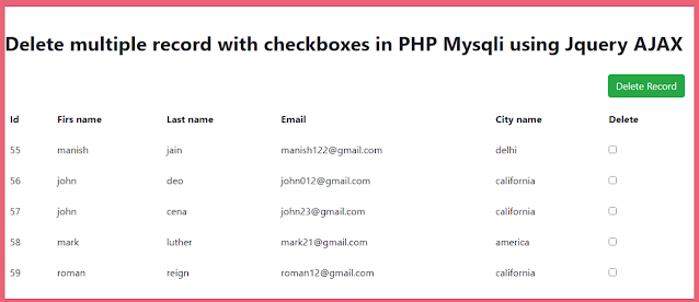 Delete multiple record with checkboxes in PHP Mysqli using Jquery AJAX