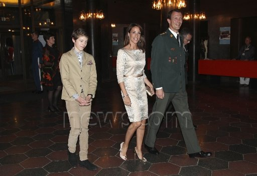 Queen Margrethe, Crown Prince Frederik with his children Prince Christian and Princess Isabella, Prince Joachim, his son Prince Felix and Princess Marie at unveiling of sculpture at Royal Theatre, Princess Marie wore Valentino dress, wedding dreses, jewelery