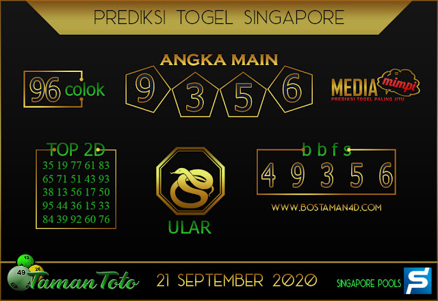 Prediksi Togel SINGAPORE TAMAN TOTO 21 SEPTEMBER 2020